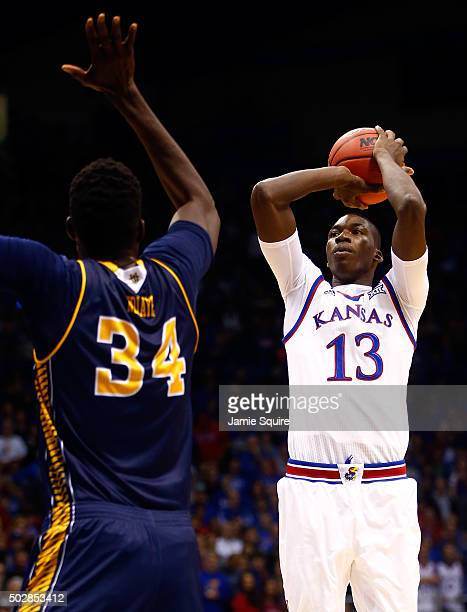 Cheick Diallo of the Kansas Jayhawks shoots over Mamadou Ndiaye of the UC Irvine Anteaters during the game at Allen Fieldhouse on December 29 2015 in...