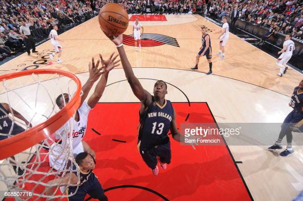 Cheick Diallo of the New Orleans Pelicans gets the rebound during the game against the Portland Trail Blazers on April 12 2017 at the Moda Center in...