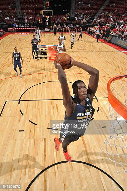 Cheick Diallo of the New Orleans Pelicans goes up for a dunk against the Miami Heat during the 2016 NBA Las Vegas Summer League game on July 13 2016...