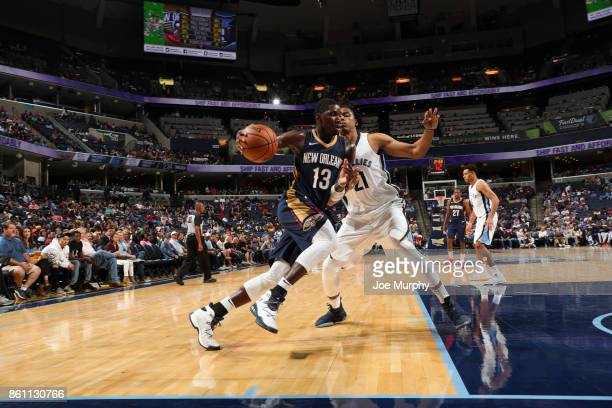 Cheick Diallo of the New Orleans Pelicans handles the ball during a preseason game against the Memphis Grizzlies on October 13 2017 at FedExForum in...