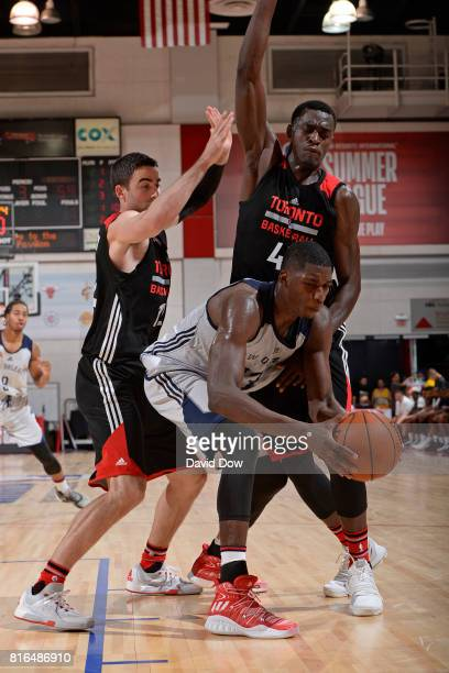 Cheick Diallo of the New Orleans Pelicans maintains possession against the Toronto Raptors during the 2017 Las Vegas Summer League on July 7 2017 at...
