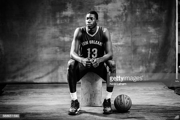 Cheick Diallo of the New Orleans Pelicans poses for a portrait during the 2016 NBA Rookie Photoshoot at Madison Square Garden Training Center on...