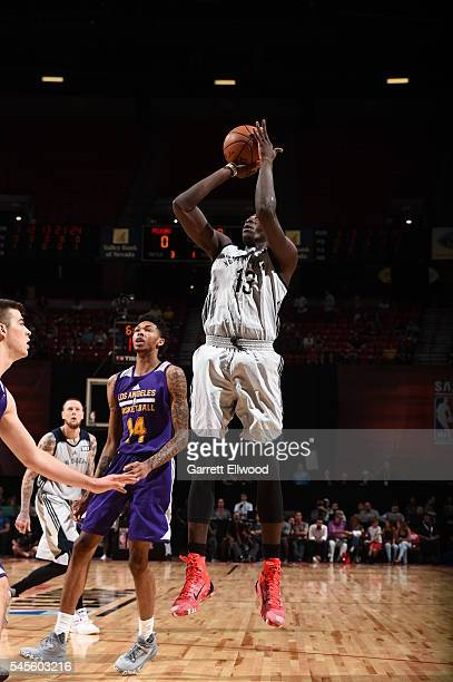 Cheick Diallo of the New Orleans Pelicans shoots against the Los Angeles Lakers during the 2016 Las Vegas Summer League game on July 8 2016 at Thomas...