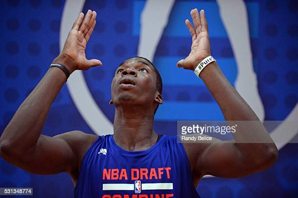 Cheick Diallo prepares for the Vertical Jump skills test during 2016 NBA Draft Combine on May 12 2016 at the Quest Multisport in Chicago Illinois...