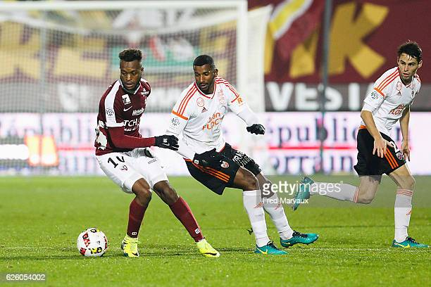 Cheick Doukoure of Metz and Carlos Miguel Cafu Ribeiro Dias of Lorient during the French Ligue 1 match between Metz and Lorient at Stade...
