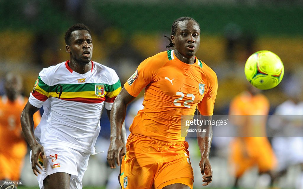 Cheick Tidiana Diabate of Mali and Souleman Bamba of Ivory Coast during the 2012 African Cup of Nations SemiFinal match between Mali and Ivory Coast...