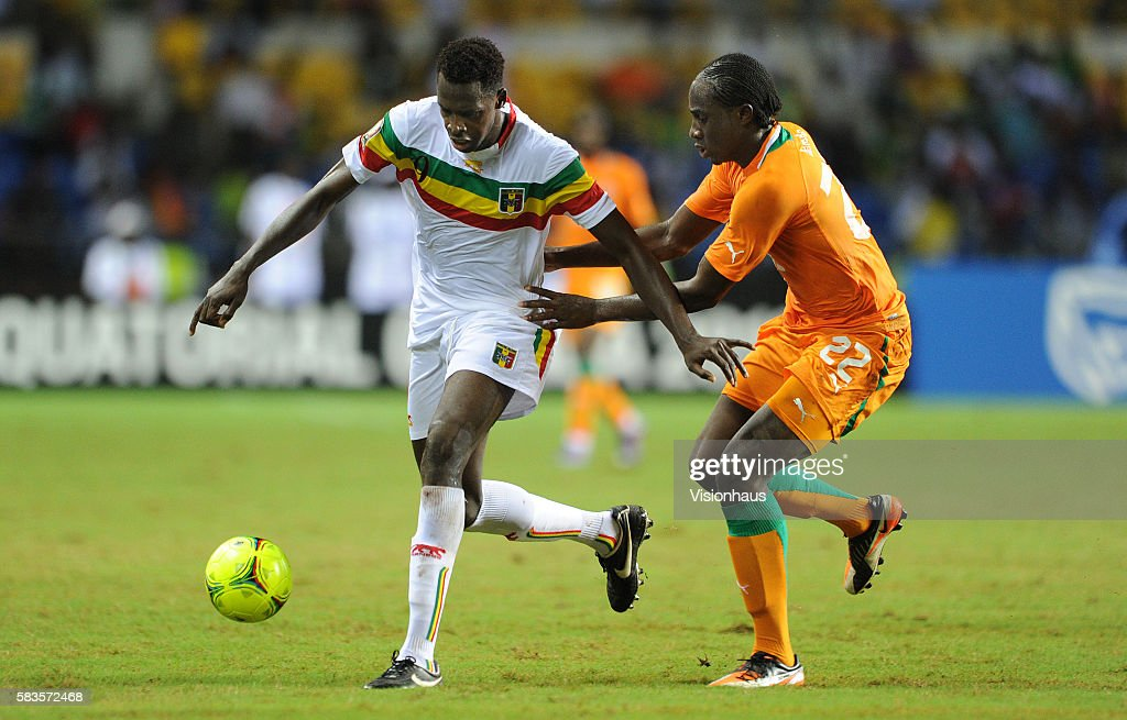 Cheick Tidiane Diabate of Mali and Souleman Bamba of Ivory Coast during the 2012 African Cup of Nations SemiFinal match between Mali and Ivory Coast...