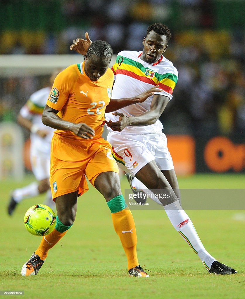 Cheick Tidiane Diabate of Mali and Soulemane Bamba of Ivory Coast during the 2012 African Cup of Nations SemiFinal match between Mali and Ivory Coast...