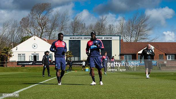 Cheick Tiote and Henri Saivet warm up during the Newcastle United Training session at The Newcastle United Training Centre on April 22 in Newcastle...