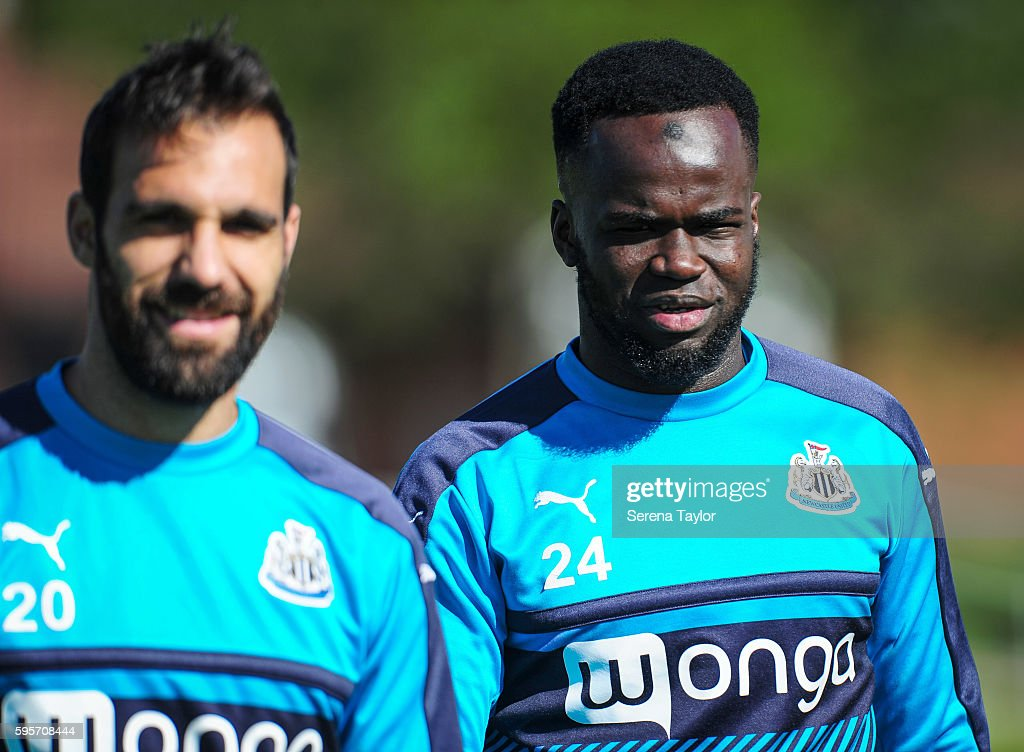 Cheick Tiote looks at the camera during the Newcastle United Training Session at The Newcastle United Training Centre on August 26 in Bristol England