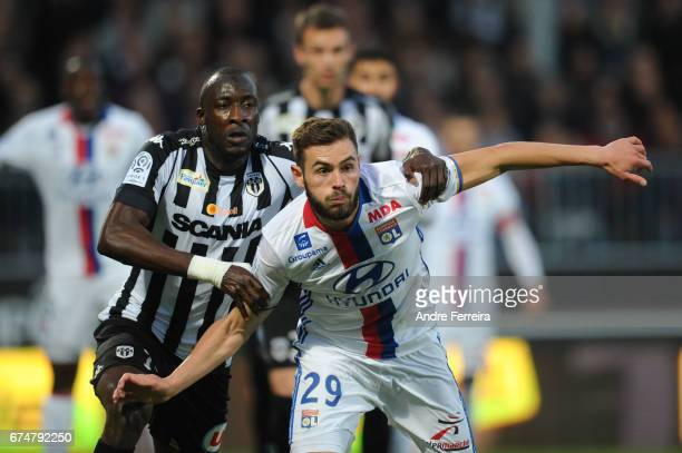 Cheickh Ndoye of Angers and Lucas Tousart of Lyon during the French Ligue 1 match between Angers and Lyon on April 28 2017 in Angers France