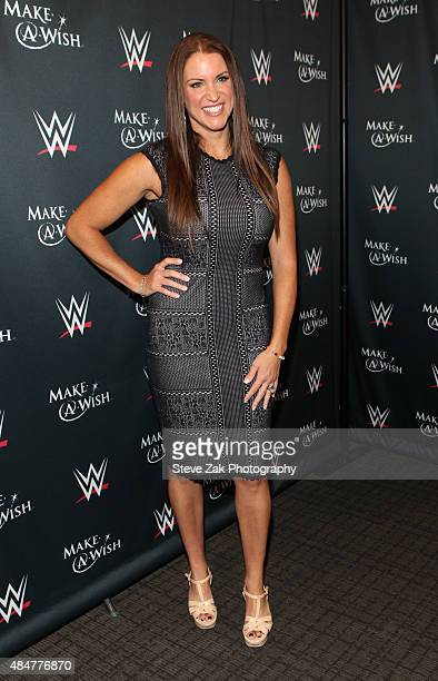 Cheif Brand Officer Stephanie McMahon attends the MakeAWish event to celebrate John Cena's 500th Wish Granting Milestone at Dave Buster's Time Square...