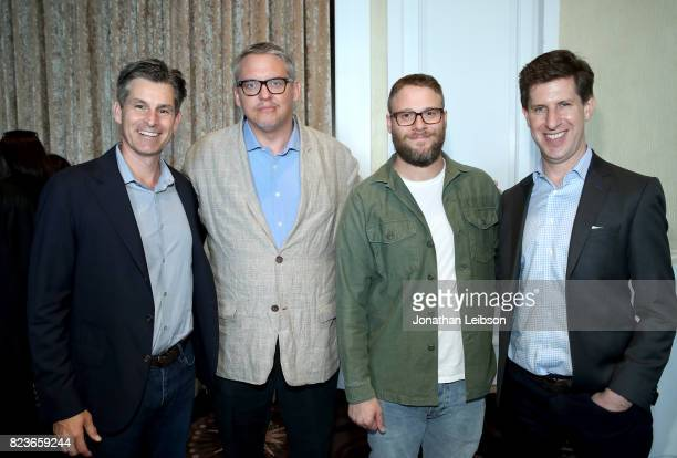 Cheif exacutive officer of Hulu Mike Hopkins actors Adam McKay Seth Rogen and SVP/Head Content Hulu Craig Erwich at Hulu Summer TCA at The Beverly...