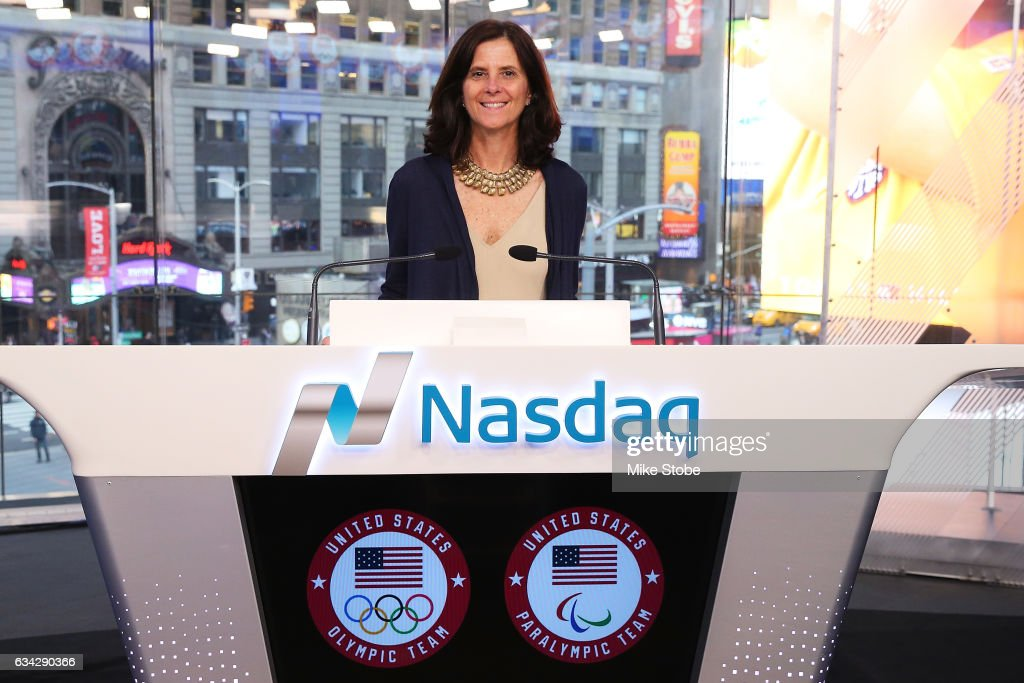 Cheif Marketing Officer Lisa Baird poses for a photo at the NASDAQ Stock Market prior to ringing the closing bell on February 8, 2017 in New York City. Team USA celebrates the one-year countdown to the Olympic Winter Games PyeongChang 2018.
