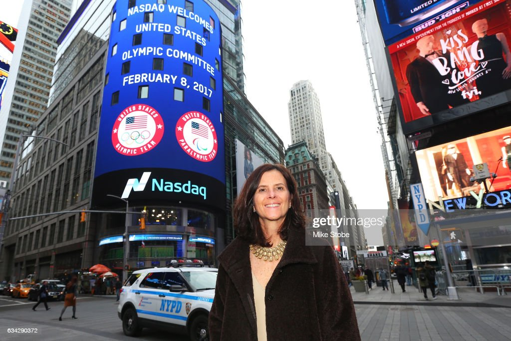 Cheif Marketing Officer Lisa Baird poses for a photo outside the NASDAQ Stock Market after ringing the closing bell on February 8, 2017 in New York City. Team USA celebrates the one-year countdown to the Olympic Winter Games PyeongChang 2018.