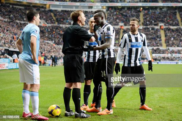Cheik Ismael Tiote of Newcastle remonstrates with Referee Mike Jones after his goal is disallowed for offside during the Barclays Premier League...