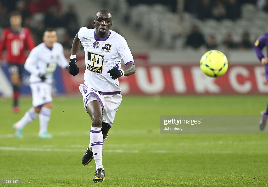 Cheik Mbengue of Toulouse FC in action during the French Ligue 1 match between Lille OSC and Toulouse FC at the Grand Stade Lille Metropole on December 11, 2012 in Lille, France.