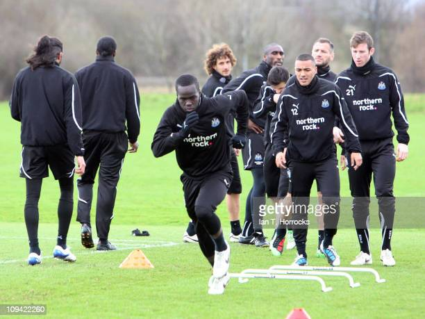 Cheik Tiote in action during a Newcastle United training session at Little Benton training ground on February 25 2011 in Newcastle Upon Tyne England