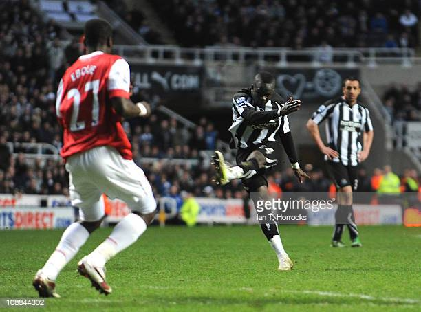 Cheik Tiote of Newcastle United scores the equalizing goal during the Barclays Premier league match between Newcastle United and Arsenal at St James'...
