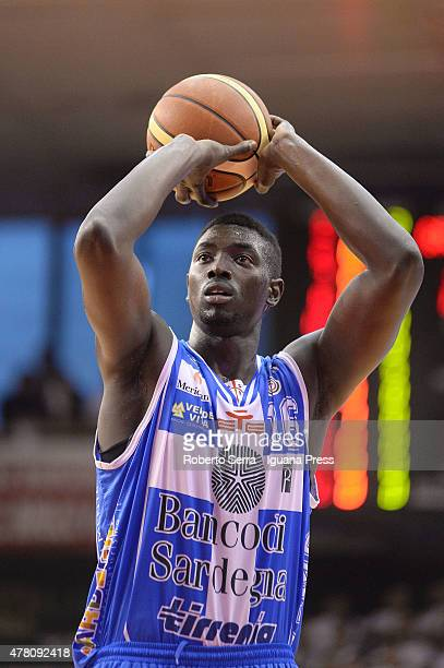 Cheikh Mbodj of Banco di Sardegna in action during match 1 of the final series of the Italian LegaBasket Serie A between Grissin Bon Reggio Emilia...