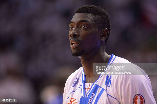 Cheikh Mbodj of Banco di Sardegna looks over during match 1 of the final series of the Italian LegaBasket Serie A between Grissin Bon Reggio Emilia...