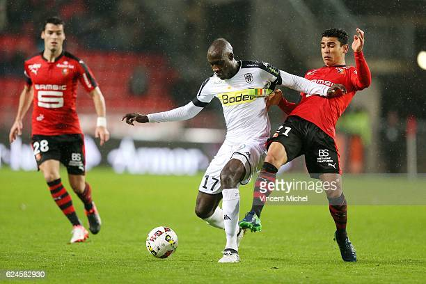Cheikh Ndoye of Angers and Benjamin Andre of Rennes during the Ligue 1 match between Stade Rennais and Sco Angers at Stade de la Route de Lorient on...