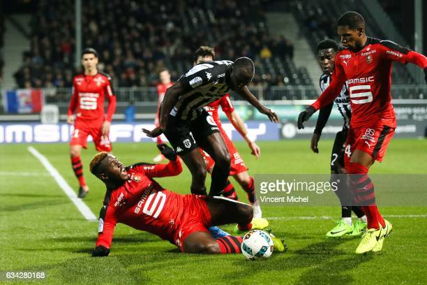 Cheikh Ndoye of Angers and Joris Gnagnon of Rennes during the French Ligue 1 match between Angers and Rennes on February 8 2017 in Angers France