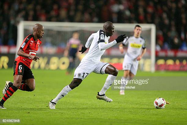 Cheikh Ndoye of Angers during the Ligue 1 match between Stade Rennais and Sco Angers at Stade de la Route de Lorient on November 19 2016 in Rennes...