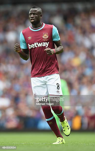 Cheikhou Kouyate of West Ham in action during the Barclays Premier League match between West Ham United and Leicester City at the Boleyn Ground on...