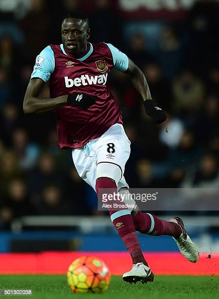 Cheikhou Kouyate of West Ham in action during the Barclays Premier League match between West Ham United and Stoke City at the Boleyn Ground on...