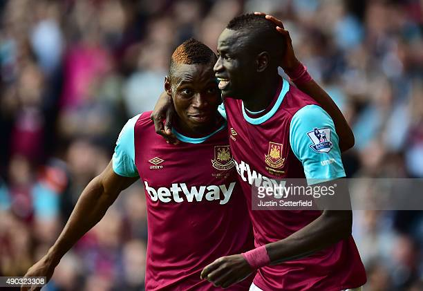 Cheikhou Kouyate of West Ham United and Diafra Sakho of West Ham United celebrate scoring his team's second goal during the Barclays Premier League...