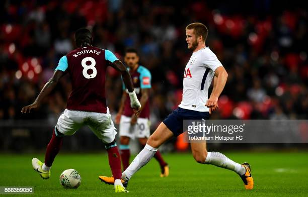Cheikhou Kouyate of West Ham United and Eric Dier of Tottenham Hotspur in action during the Carabao Cup Fourth Round match between Tottenham Hotspur...