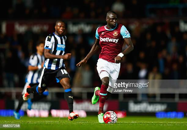 Cheikhou Kouyate of West Ham United breaks during the Barclays Premier League match between West Ham United and Newcastle United at the Boleyn Ground...