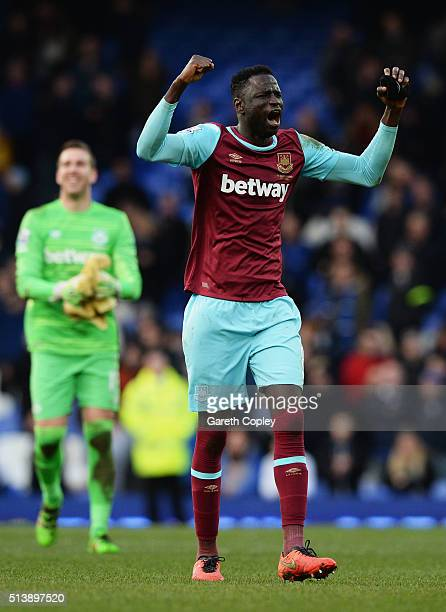 Cheikhou Kouyate of West Ham United celebrates his team's win in the Barclays Premier League match between Everton and West Ham United at Goodison...