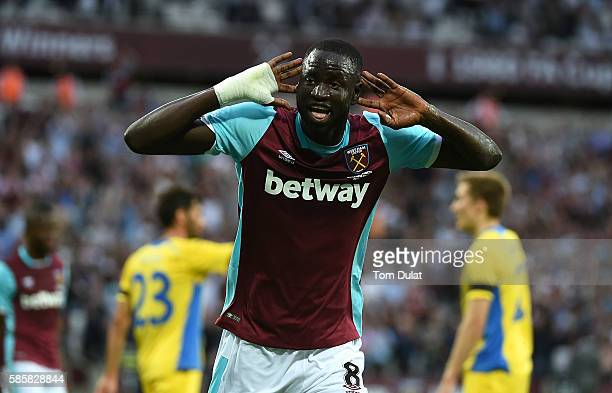 Cheikhou Kouyate of West Ham United celebrates scoring his second goal during the UEFA Europa League Qualification round match between West Ham...