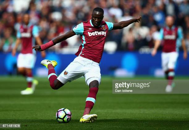 Cheikhou Kouyate of West Ham United in action during the Premier League match between West Ham United and Everton at the London Stadium on April 22...