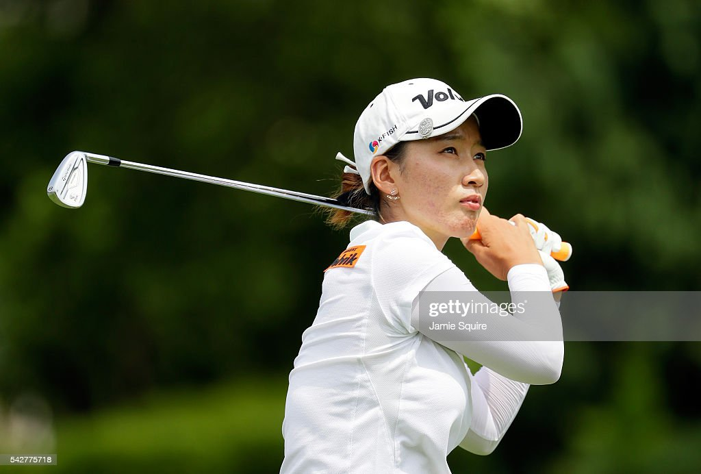 Chella Choi of Korea hits her first shot on the 11th hole during the first round of the Walmart NW Arkansas Championship Presented by PG on June 24...