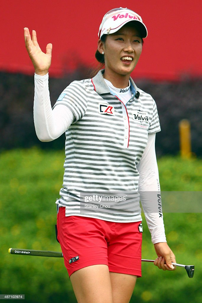 Chella Choi of South Korea celebrates on the 18th hole after her last putt of the tournament during the final day of the Sime Darby LPGA at Kuala...