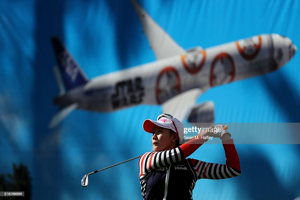 Chella Choi of South Korea hits a shot on the 8th hole during the Pro-Am as a preview for the 2016 ANA Inspiration Championship at the Mission Hills Country Club on March 30, 2016 in Rancho Mirage, California.