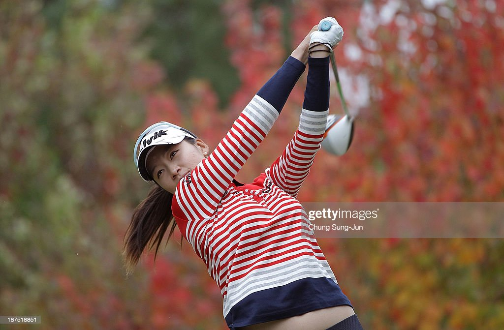 Chella Choi of South Korea hits a tee shot during the final round of the Mizuno Classic at Kintetsu Kashikojima Country Club on November 10 2013 in...