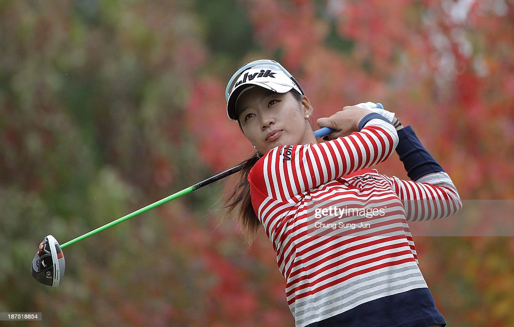 Chella Choi of South Korea hits a tee shot during the final round of the Mizuno Classic at Kintetsu Kashikojima Country Club on November 10, 2013 in Shima, Japan.