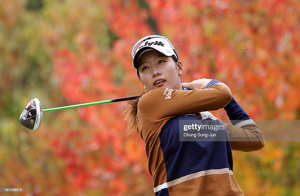 Chella Choi of South Korea hits a tee shot during the second round of the Mizuno Classic at Kintetsu Kashikojima Country Club on November 9 2013 in...