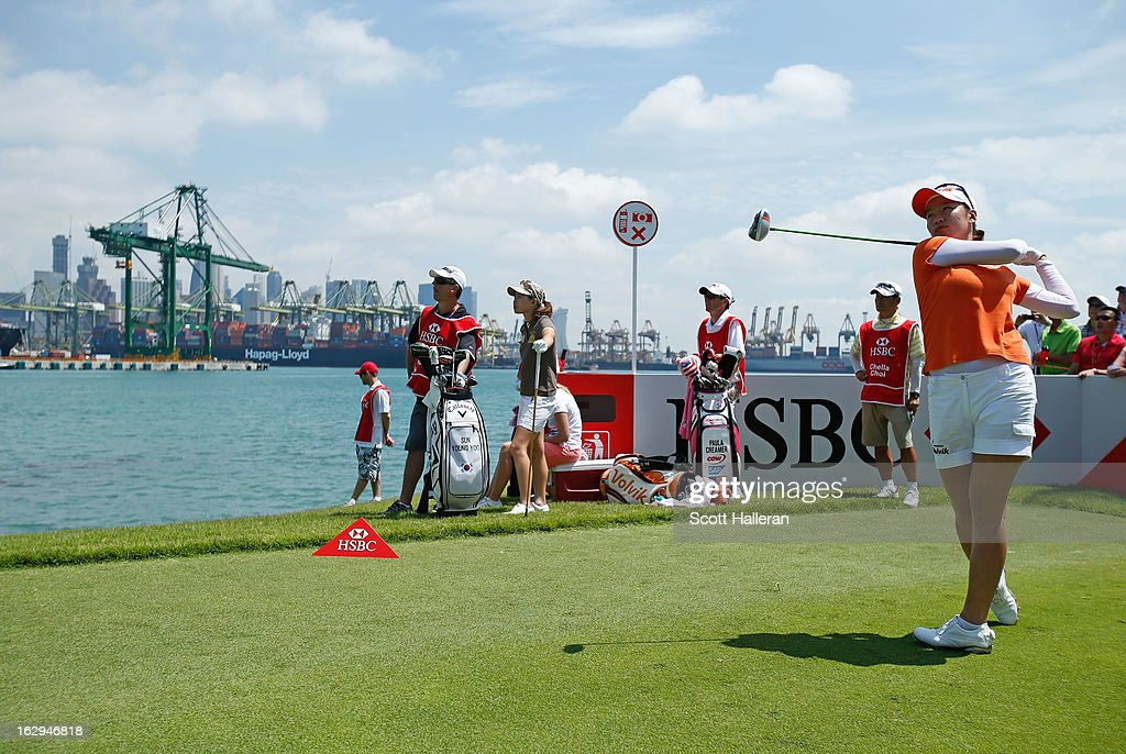 Chella Choi of South Korea hits a tee shot during the third round of the HSBC Women's Champions at the Sentosa Golf Club on March 2, 2013 in Singapore, Singapore.