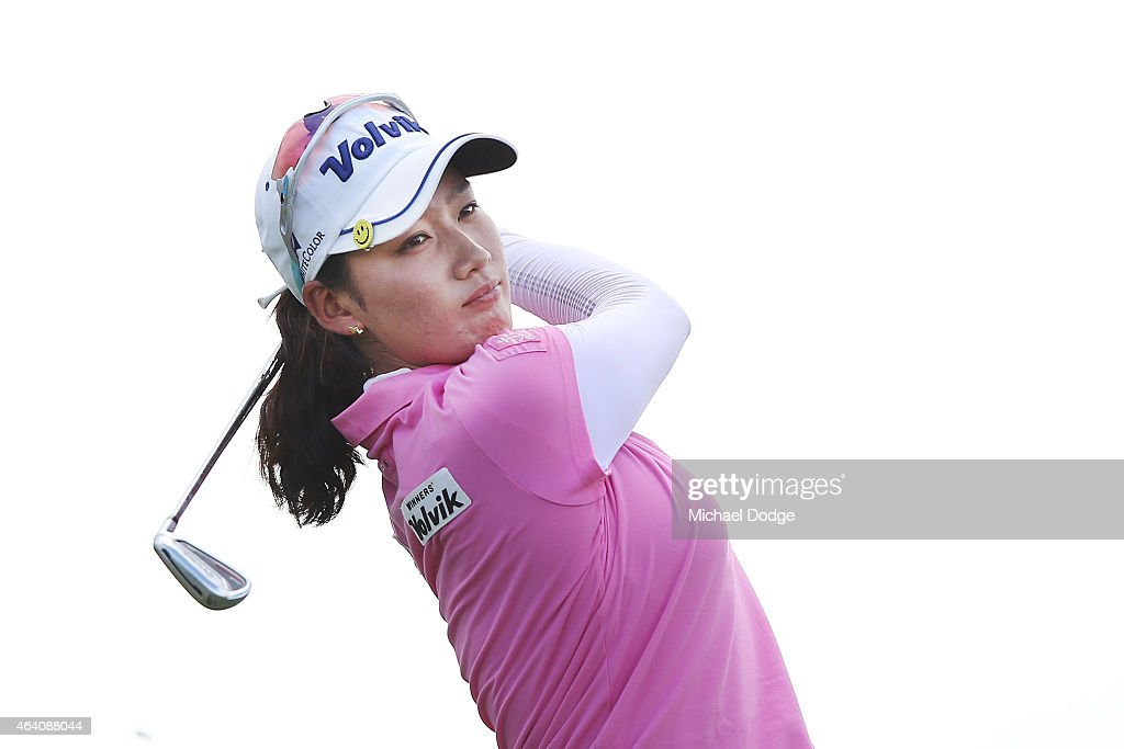 Chella Choi of South Korea hits an approach shot on the 11th hole during day four of the LPGA Australian Open at Royal Melbourne Golf Course on...
