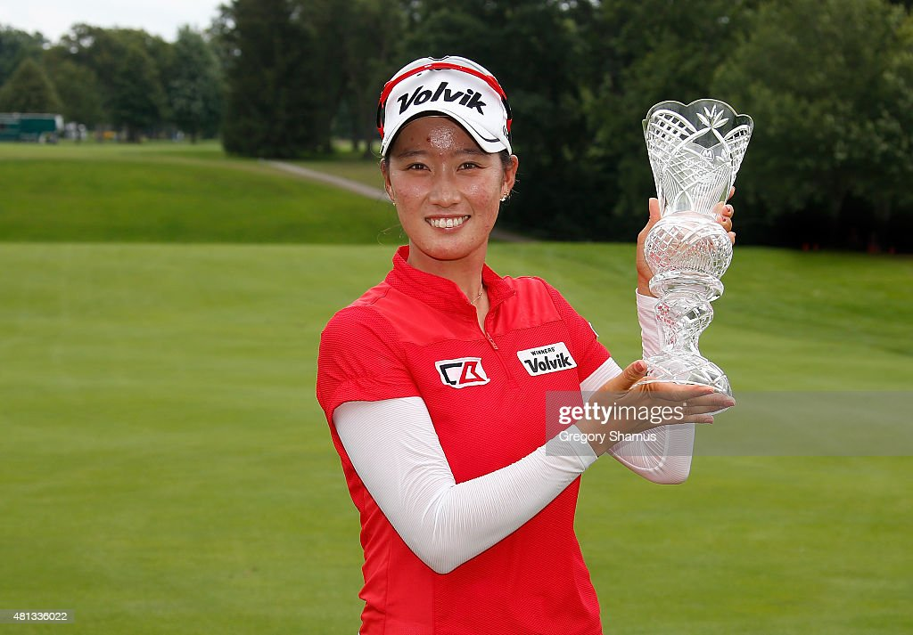 Chella Choi of South Korea holds up the trophy after winning the Marathon Classic presented by Owens Corning and O-I at Highland Meadows Golf Club on July 19, 2015 in Sylvania, Ohio.