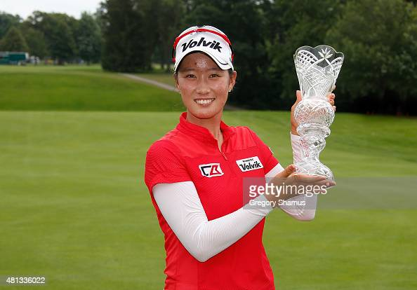 Chella Choi of South Korea holds up the trophy after winning the Marathon Classic presented by Owens Corning and OI at Highland Meadows Golf Club on...