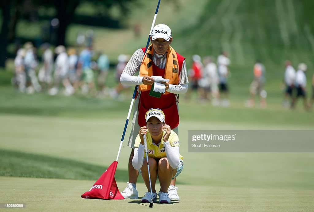 Chella Choi of South Korea looks over a shot on the 18th hole during the third round of the US Women's Open at Lancaster Country Club on July 11 2015...