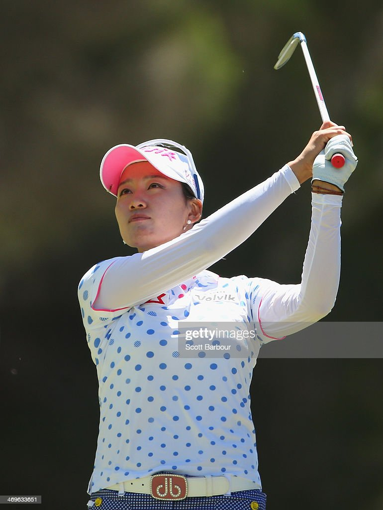 Chella Choi of South Korea plays a shot during the fourth round of the ISPS Handa Women's Australian Open at The Victoria Golf Club on February 16...