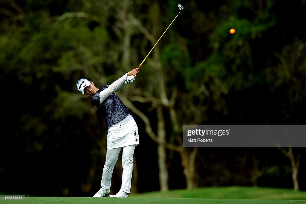 Chella Choi of south Korea plays her shot on the 15th hole during the Australian Ladies Masters at Royal Pines Resort on February 3, 2013 on the Gold Coast, Australia.
