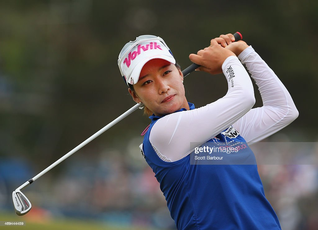 Chella Choi of South Korea practices her swing after completing her round during day three of the ISPS Handa Women's Australian Open at The Victoria...